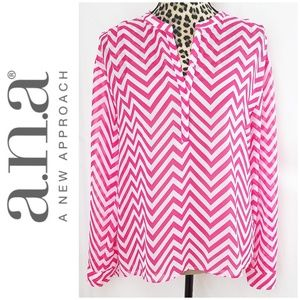 a.n.a. Pink and White Chevron Print Sheer Blouse